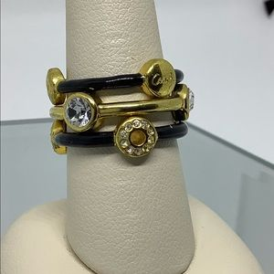 Women's Coach Gold & BLK stackable Rings Size 7